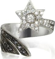 Bernard Delettrez Rings, Shooting Star 18k White Gold Midi Ring Wwhite, Grey And Black Diamonds