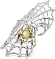 Bernard Delettrez Rings, Spiderweb Silver And Bronze Articulated Ring