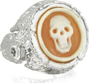 Treetrunk Silver Ring W Cameo