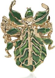Leaf Insect Bronze Ring W Enamel