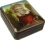 Bianchi Arte Jewelry Boxes, Persian Kitty Oil On Leather Jewelry Box