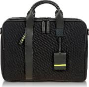 Black Nylon And Leather Briefcase