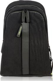 Black Nylon And Leather Sling Backpack
