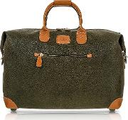Life Olive Green Micro Suede 18 Carry On Holdall