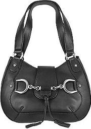 Black Horsebit Detail Italian Calf Leather Shoulder Bag