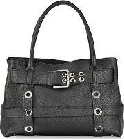 Black Leather Shoulder Bag Wbuckle