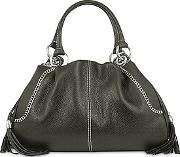 Black Pebble Italian Leather Satchel Bag