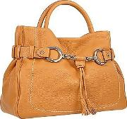Camel Horsebit Detail Italian Pebble Leather Satchel Bag
