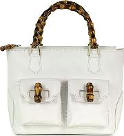 Front Pockets White Leather Satchel Bag W Bamboo Handles