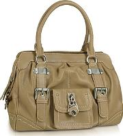 Grained Leather Zippered Satchel Bag