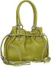 Green Tassel Drawstring Pebble Leather Satchel Handbag