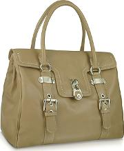 Large Grained Leather Flap Satchel Bag