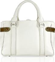 Side Snaps Calf Leather Satchel Bag