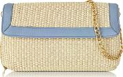 Straw And Leather Clutch Wshoulder Strap