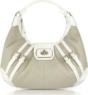 White Patent Leather And Canvas Hobo Bag