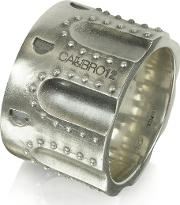 Revolver Stud Burnished Sterling Silver Ring Wchain
