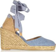 Carina Light Denim Canvas Wedge Espadrilles