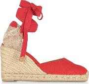 Carina Ruby Red Canvas Wedge Espadrilles