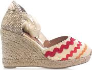 Craby Red Canvas Wedge Espadrilles