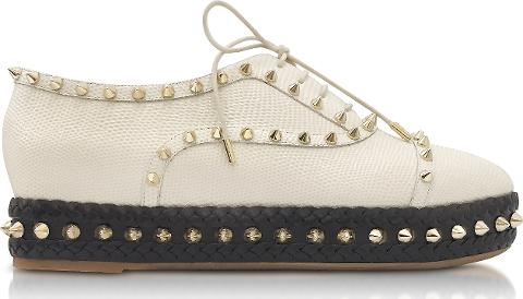 Charlotte Olympia Shoes, Hoxton Ivory Embossed Leather Platform Shoes