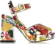 Into The Wild Fruit Salad Print Metallic Leather Platform Sandal