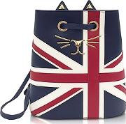 Feline Navy Red & Off White Grained Leather Bucket Bag