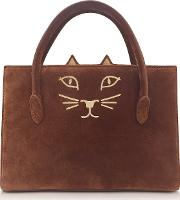 Tan Suede And Natural Linen Feline Petit Poitier Tote Bag