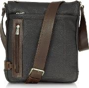 And Brown Leather Vertical Messenger