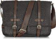 Black And Brown Leather Messenger
