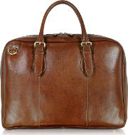Brown Double Handle Leather Briefcase