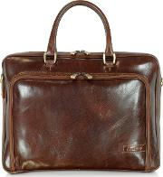 Chiarugi Briefcases, Dark Brown Double Handle Leather Zip Briefcase