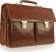 Handmade Brown Genuine Italian Leather Briefcase