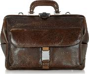 Chiarugi Briefcases, Large Brown Hammered Leather Doctor Bag
