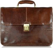 Chiarugi Briefcases, Large Brown Leather Briefcase