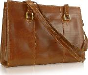 Handmade Brown Genuine Italian Leather Zip Satchel Bag