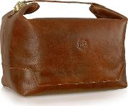 Handmade Brown Genuine Italian Leather Toiletry Travel Case
