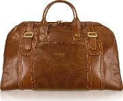 Handmade Brown Genuine Italian Leather Duffle Travel Bag
