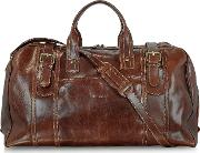 Large Brown Italian Leather Holdall Bag Travel Bag