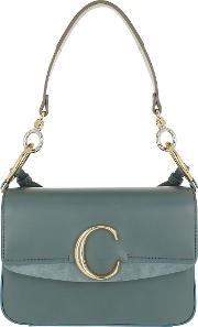 C Double Carry Small Shoulder Bag Leather Cloudy Blue