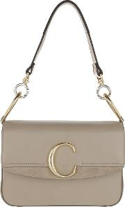 Double Carry Small Shoulder Bag Leather Motty Grey