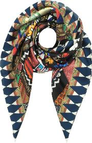 Black And Ivory Love Printed Silk Square Scarf