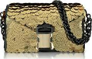 Christopher Kane Handbags, Gold Sequins Classic Devine Clutch Wchain Strap