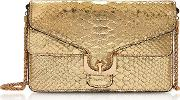 Ambrine Platinum Metallic Python Print Leather Clutch Wchain
