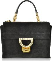 Black Suede Arlettis Jewel Mini Bag Wshoulder Strap