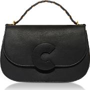 Craquante Rock Leather And Suede Satchel Bag Wstudded Handle