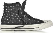 Chuck Taylor All Star High Black Studded Canvas Sneakers