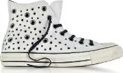 Chuck Taylor All Star High Distressed Pale Putty Leather Sneakers Weyelets