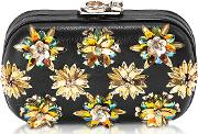 Susan C Star Black Nappa Leather And Gold Flowers Crystals Pochette Wchain Strap
