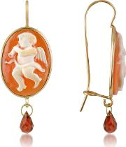 Angel Wflute Cornelian Cameo Drop Earrings