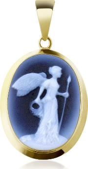 Winged Victory Agate Stone Cameo Pendant
